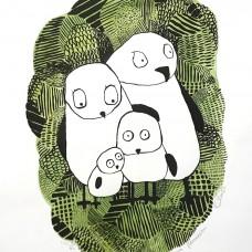 Den bekymra familien (håndkolorert grønn)