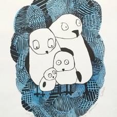 Den bekymra familien (håndkolorert blå)