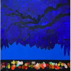 Neon city. Blue foliage