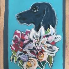 Blomsterhund tørrpastell